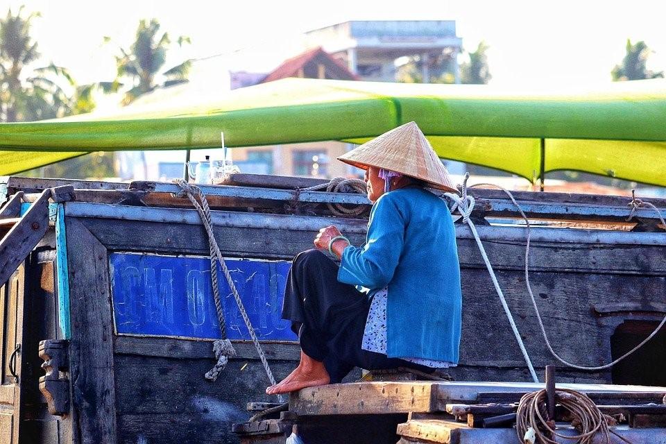 Vietnam, Saigon, Femme, Chapeau, Navire, River, Mékong